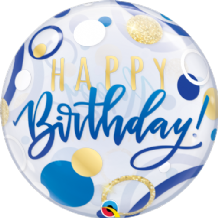 "Birthday Blue & Gold Dots Bubble Balloon (22"") 1pc"